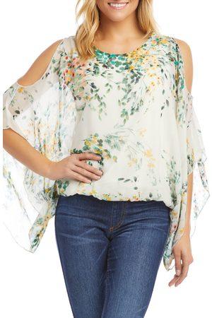 Karen Kane Women's Cold Shoulder Floral Scarf Top