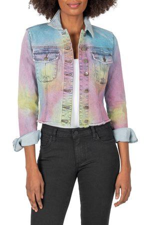 Kut From The Kloth Women's Kara Frayed Hem Tie Dye Denim Jacket