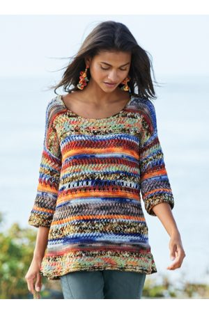 Peruvian Connection Crayon Stripe Pullover