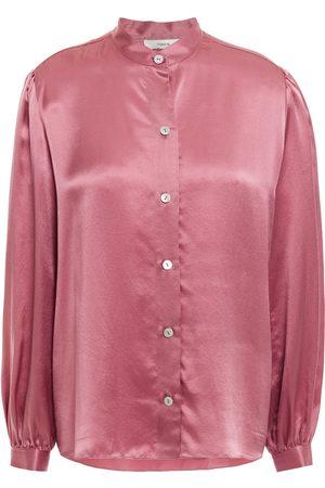 Vince Woman Gathered Silk-satin Shirt Antique Rose Size L