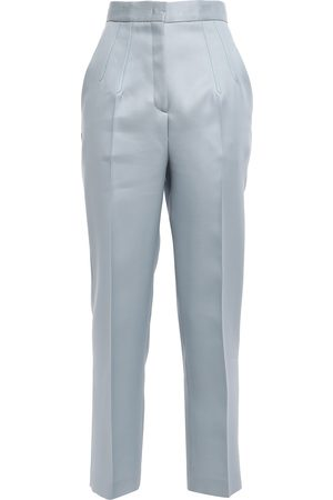 Emilio Pucci Women Straight Leg Pants - Woman Wool And Silk-blend Satin Straight-leg Pants Sky Size 38