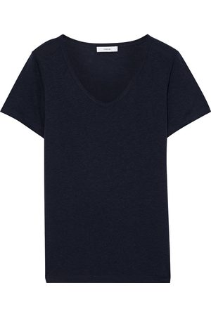 Vince Women Short Sleeve - Woman Tencel Linen And Cotton-blend Jersey T-shirt Midnight Size L