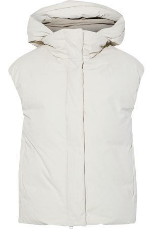 Vince Woman Washed-canvas Hooded Vest Ivory Size M