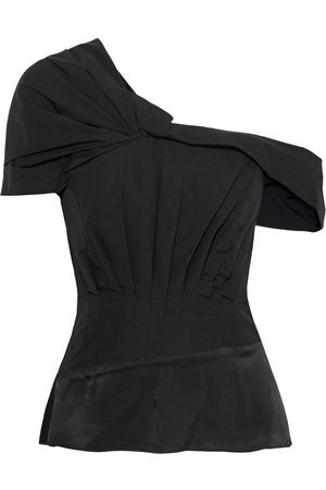 3.1 Phillip Lim Women Strapless Tops - Woman Off-the-shoulder Satin-paneled Pleated Cotton-blend Poplin Top Size 0