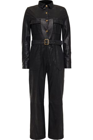 Muubaa Woman Apollo Belted Coated-suede Jumpsuit Size 10