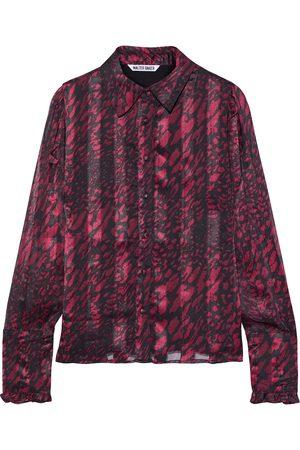 Walter Baker Woman Lesha Printed Satin And Chiffon Shirt Magenta Size L