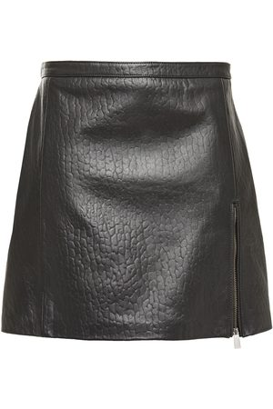 Muubaa Woman Zip-detailed Croc-effect Leather Mini Skirt Size 10