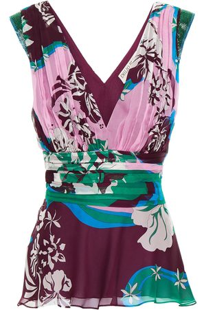 Emilio Pucci Woman Pleated Printed Silk-blend Georgette Top Grape Size 40