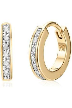 Monica Vinader Women Earrings - Gold Skinny Huggie Diamond Earrings Diamond