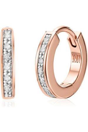 Monica Vinader Women Earrings - Rose Gold Skinny Huggie Diamond Earrings Diamond