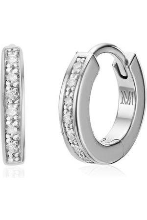 Monica Vinader Women Earrings - Sterling Silver Skinny Huggie Diamond Earrings Diamond
