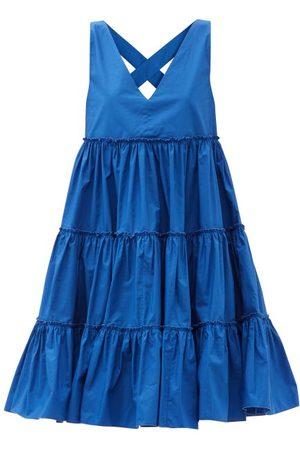 La DoubleJ Babe Tiered Cotton-poplin Midi Dress - Womens