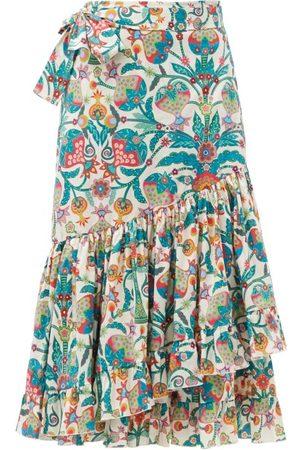 La DoubleJ Women Printed Skirts - Tree Of Life Bianco-print Cotton-blend Wrap Skirt - Womens - Multi