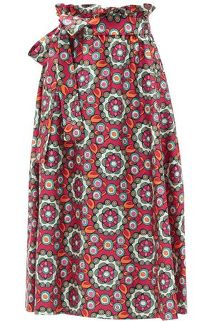 La DoubleJ Sardegna Kaleidoscope Fuxia-print Silk Midi Skirt - Womens - Multi