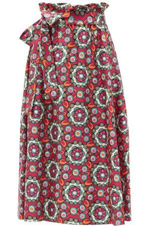 La DoubleJ Women Printed Skirts - Sardegna Kaleidoscope Fuxia-print Silk Midi Skirt - Womens - Multi