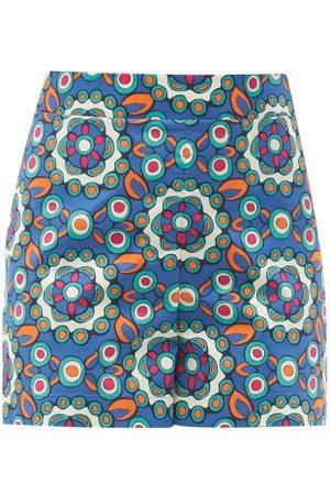 La DoubleJ Women Shorts - Kaleidoscope Bluette-print Cotton-poplin Shorts - Womens - Multi