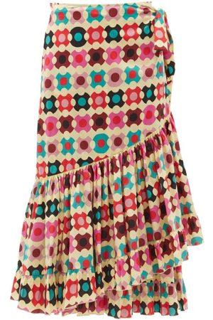 La DoubleJ Wrap Groovy Dot-print Cotton-blend Skirt - Womens - Multi