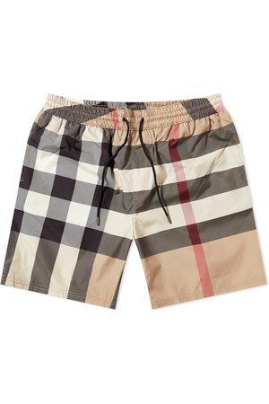Burberry Men Swim Shorts - Guildes Oversize Check Swim Short