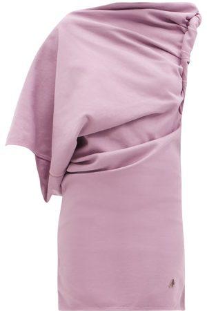 The Attico Draped One-shoulder Cotton-jersey Mini Dress - Womens