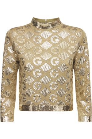 Gucci Women Tops - Logo Jacquard Lamé Crewneck Top