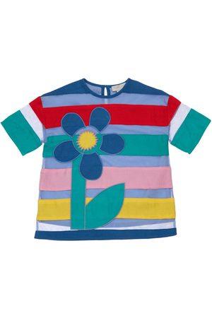 Stella McCartney Striped Tulle Dress W/flower Patch