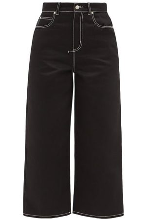 Alexander McQueen Topstitched High-rise Cropped Wide-leg Jeans - Womens