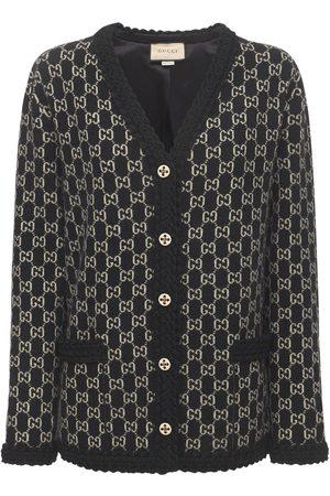 Gucci Women Cardigans - Logo Wool Jacquard Knit Cardigan