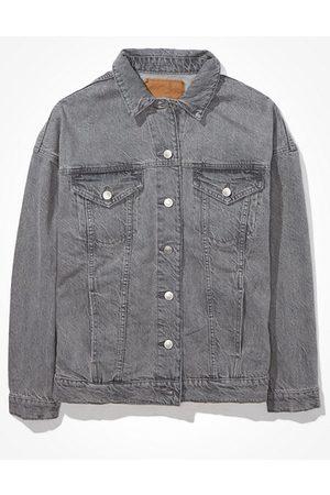 American Eagle Outfitters Oversized Grey Boyfriend Denim Jacket Women's XS