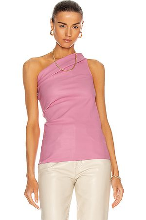 Rick Owens Athena Leather Tank Top in Pink