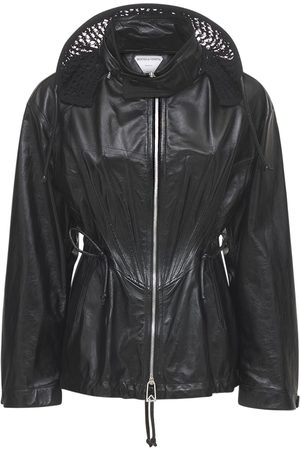 Bottega Veneta Women Coats - Shiny Leather Zip Up Coat