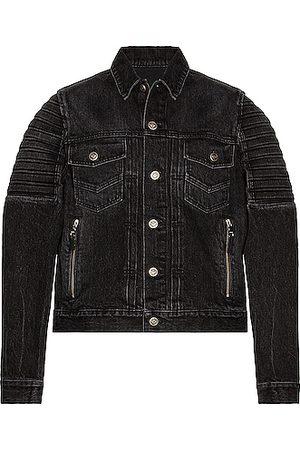 Balmain Embossed Denim Jacket in Black