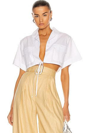 MATTHEW BRUCH Cropped Safari Shirt in White