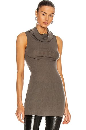 Rick Owens Sleeveless Cowl Neck Top in Grey