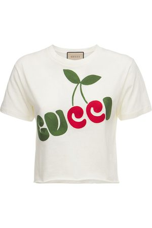 Gucci Women T-shirts - Cherry Logo Cotton Jersey T-shirt