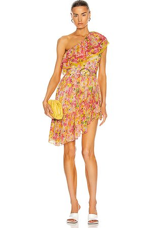 ROCOCO SAND Nesh One Shoulder Mini Dress in Yellow