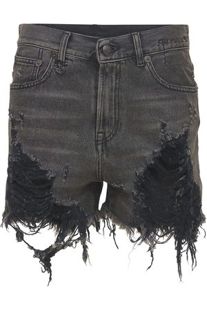 R13 Women Shorts - Distressed Cotton Denim Shorts