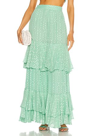 ROCOCO SAND Aria Tiered Maxi Skirt in Mint