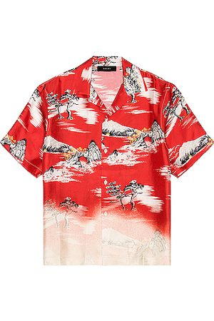 AMIRI Faded Aloha Short Sleeve in Red