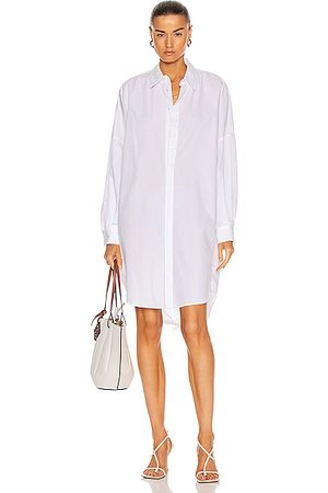 BASSIKE Cotton Circle Shirt Dress in White