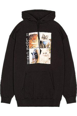 Balenciaga Men Hoodies - I Love Cats Hoodie in Black