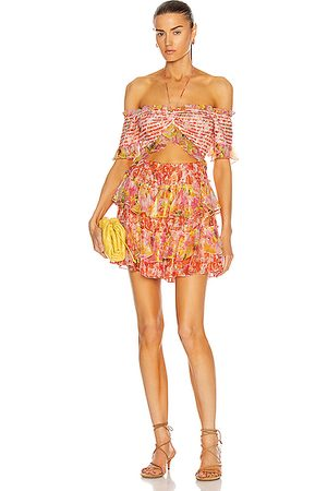 ROCOCO SAND Nesh Tired Mini Dress in Orange