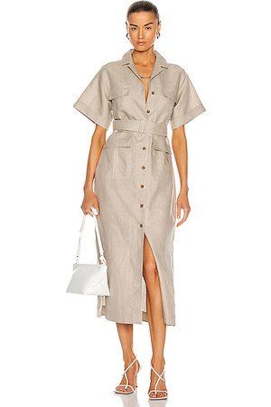 MATTHEW BRUCH Safari Midi Dress in Beige