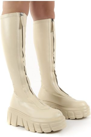 Public Desire US Quest Ecru Zip Up Chunky Sole Knee High Boots - US 5