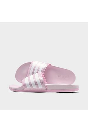adidas Girls' Big Kids' Adilette Shower Slide Sandals in Pink/Clear Pink