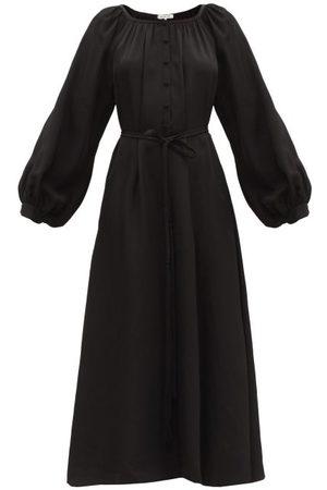 Fil De Vie Merieme Balloon-sleeve Bamboo-twill Dress - Womens - Black