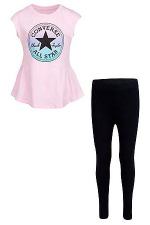 Converse Girls' Little Kids' Ruffle T-Shirt and Legging Set in Pink/Light Pink Size 4 Cotton
