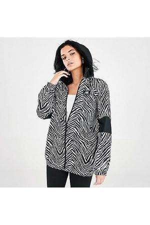 New Balance Women's Athletics Animal Print Mix Windbreaker Jacket in White/Black/Black