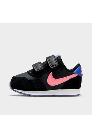 Nike Girls' Toddler MD Valiant Hook-and-Loop Casual Shoes in Black/Dark Smoke Grey Size 4.0 Suede