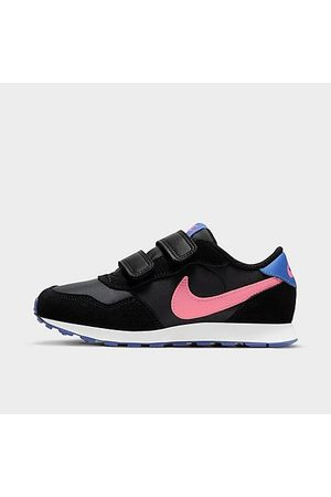 Nike Girls' Little Kids' MD Valiant Hook-and-Loop Casual Shoes in Black/Black Size 1.0 Suede