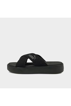 PUMA Women's Suede Platform Slide Sandals in Black/ Black